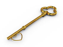 Tasto dell'oro ad accesso con cuore Immagini Stock