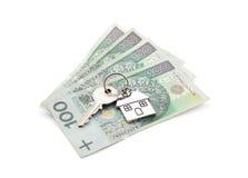 Tasto della Camera sul mucchio delle banconote polacche Immagini Stock