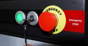 Tasto di arresto del pannello di controllo di CNC fotografie stock