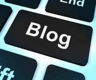 Tasto di calcolatore del blog per il Web site del Blogger Immagine Stock