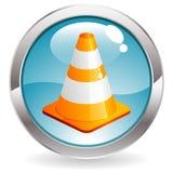 Tasto di lucentezza con il cono di traffico Immagine Stock Libera da Diritti