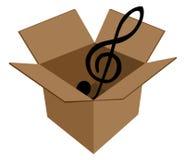 Tasto di musica in scatola di cartone Fotografia Stock Libera da Diritti