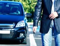 Tasto di nuovo commercio dell'automobile Fotografie Stock