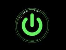 Tasto di potenza verde Fotografie Stock Libere da Diritti