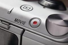Tasto di riproduzione di film sul corpo dei dispositivi moderni del audio-video Fotografie Stock