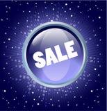 Tasto di vendita sui precedenti blu Immagini Stock Libere da Diritti