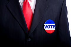 Tasto di voto sull'uomo Immagini Stock Libere da Diritti