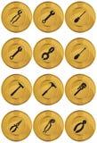 Tasto di Web degli strumenti - moneta di oro illustrazione vettoriale