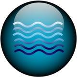 Tasto di Web di vetro di acqua Immagini Stock