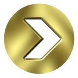 tasto dorato della freccia 3D Fotografia Stock