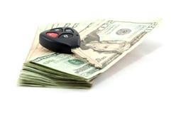 Tasto e costo dell'automobile Fotografia Stock