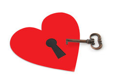 Tasto e cuore con il buco della serratura Immagini Stock