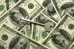 Tasto e soldi Fotografia Stock