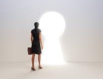 Tasto femminile di affari a successo Fotografie Stock Libere da Diritti