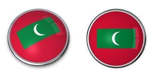 Tasto Maldives della bandiera Immagini Stock Libere da Diritti