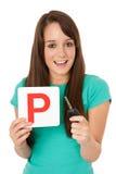 Tasto provvisorio dell'automobile & dell'autorizzazione Fotografia Stock Libera da Diritti