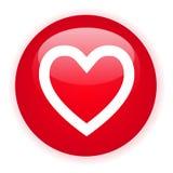 Tasto rosso del cuore di Signle Fotografie Stock Libere da Diritti