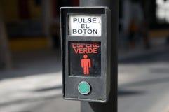 Tasto spagnolo del crosswalk Fotografia Stock