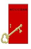 Tasto a successo - portello rosso chiave dell'oro Fotografia Stock Libera da Diritti