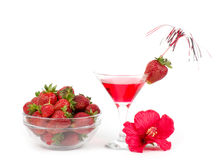 Tasty alcohol cocktail with strawberry. Royalty Free Stock Images