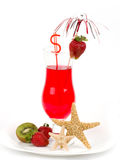 Tasty alcohol cocktail with strawberry. Royalty Free Stock Photography