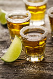 Tasty alcohol drink cocktail tequila with lime and salt on vibra Royalty Free Stock Photo