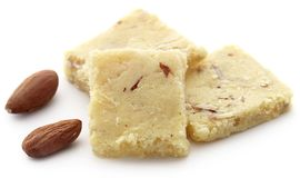 Tasty almond barfi. Over white background Royalty Free Stock Photography