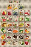 Cross-stitch Alphabet cyrillic tasty, fruit Stock Image