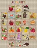 Cross-stitch sweet alphabet Royalty Free Stock Image
