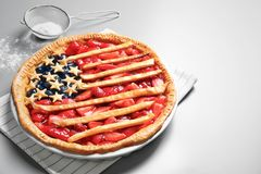 Tasty American flag pie Stock Images