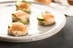 Tasty appetizer with codfish caviar on plate. Closeup Stock Images