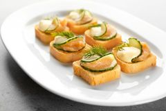 Tasty appetizer with codfish caviar on plate. Closeup Royalty Free Stock Image