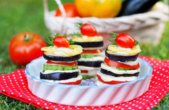 Tasty appetizer of grilled vegetables stock photo