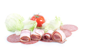 Tasty appetizer of meat,salad and tomato Stock Image