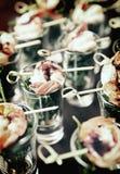 Tasty appetizer of shrimps and arugula, toned Stock Image
