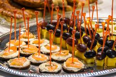 Tasty appetizers with cheese and fish and grapes and cheese on silver platter royalty free stock images