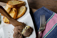 Tasty appetizers with chicken liver pate, valerian salad, toaste Stock Photos
