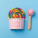 Tasty Appetizing Fake Lollypop Ice Cream on Bright Background Stock Photo