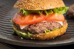 Tasty and appetizing hamburger cheeseburger Royalty Free Stock Image