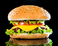 Tasty and appetizing hamburger on a dark Royalty Free Stock Photography