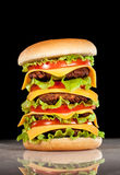 Tasty and appetizing hamburger on a dark Stock Images