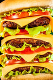 Tasty and appetizing hamburger on a dark Stock Image