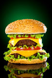 Tasty and appetizing hamburger on a darkly green. Background Stock Images