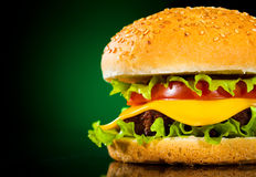 Tasty and appetizing hamburger on a darkly green Royalty Free Stock Photos