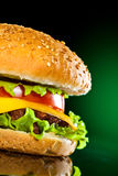 Tasty and appetizing hamburger on a darkly green. Background Royalty Free Stock Photo