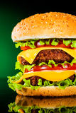 Tasty and appetizing hamburger on a darkly green Stock Photography