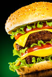 Tasty and appetizing hamburger on a darkly green. Background Royalty Free Stock Images
