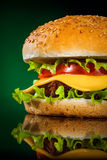 Tasty and appetizing hamburger on a darkly green. Background Stock Image