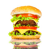 Tasty and appetizing hamburger on a white Stock Photos