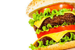 Tasty and appetizing hamburger on a white Stock Image